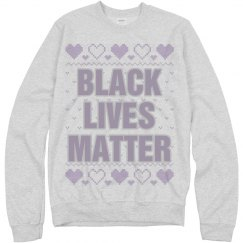 Hearts Black Lives Matter Ugly Sweater - Purple Detail