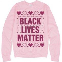 Hearts Black Lives Matter Ugly Sweater - Pink Detail