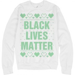 Hearts Black Lives Matter Ugly Sweater - Mint Detail