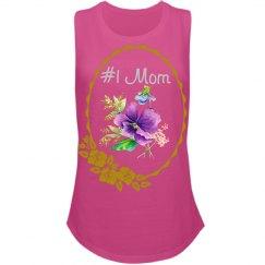 #1 Mom Rhinestones Floral Frame