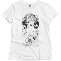 Beautiful Lady Black & White w/ Flowers & Cherubs