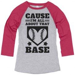 A Softball Girl With A Base