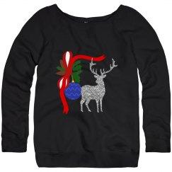 Silver Reindeer & Blue Ornament