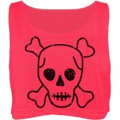 Distressed Skull Neon Top