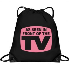 Pink TV Drawstring Bag