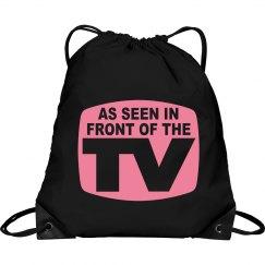 Pink TV Drawstring Bag
