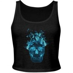 Blue Fire Skull Tank Top