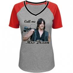 Juniors Call Me Mrs Dixon Mesh Sleeve Tee