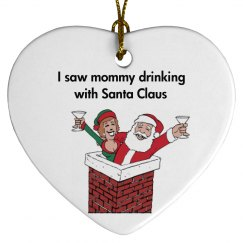 santa drinking ornament