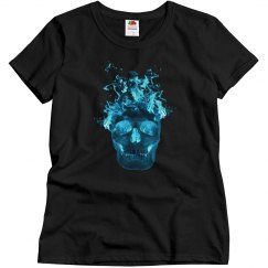 Blue Fire Skull Shirt