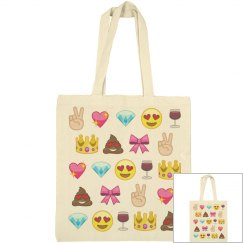 Cute Emoji Canvas Tote Bag