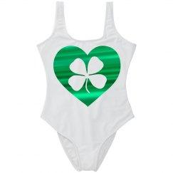 Shamrock in Metallic Green Heart