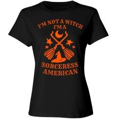 Sorceress American Black Halloween Humor Tee