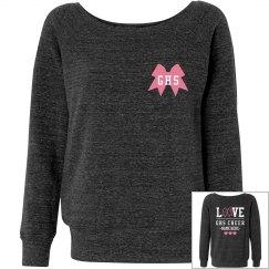 Custom Love Cheer Bow Slouchy Sweater