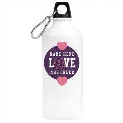 Custom Name Love Cheer Bow School Sports Water Bottle