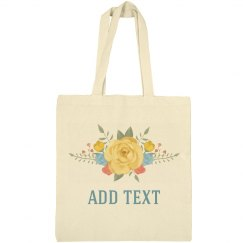 Custom Text Spring Floral Tote
