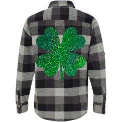 Green Glitter Hearts Shamrock