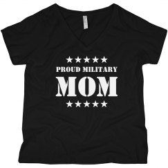 Military Proud Marine Mom Curvy V-Neck