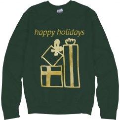 Golden Christmas Presents Happy Holidays