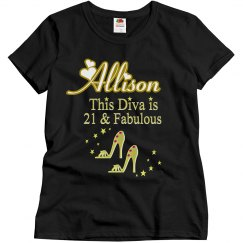 21 AND FABULOUS PERSONALIZED T SHIRT