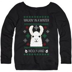 Llama Ugly Sweater Wooly-Land Pun