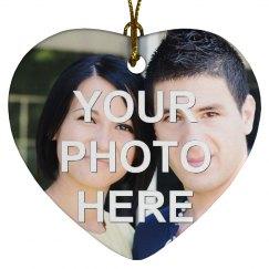 Custom Photo Love Heart Shaped Ornament