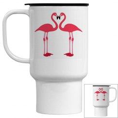 Pink Love Flamingos Travel Mug
