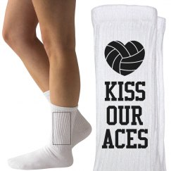 Funny Kiss Our Aces Volleyball Term Socks