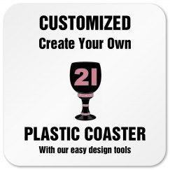 21st Birthday Plastic Coaster
