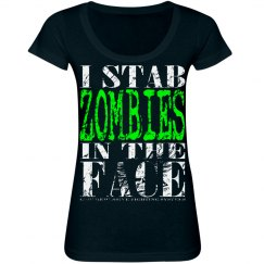 I Stab Zombies Scoop Neck