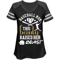 Baseball Mom - This Beauty Raised Her Beast Tee