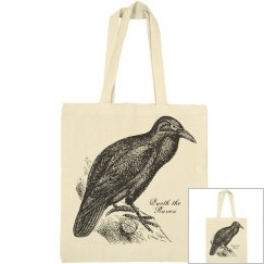 Raven Halloween Canvas Tote Bag