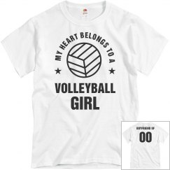 My Heart Belongs To A Volleyball Girl Boyfriend Tee