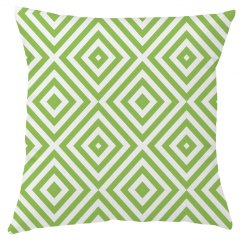 Green And White Diamond Pattern Throw Pillow Cover