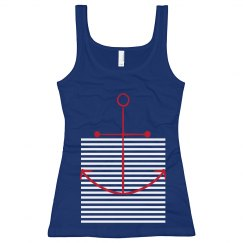 Anchor Love Tank Blue