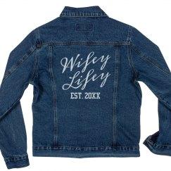 Custom Wifey Lifey Denim Jacket