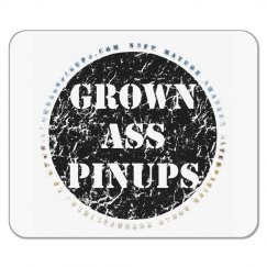 GROWN ASS PINUPS OFFICIAL BADGE DISTRESSED MOUSE PAD