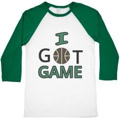 I Got Game Junior Black, Grey and Green Basketball Tee