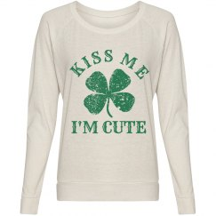 Kiss Me I'm Cute Green Shamrock