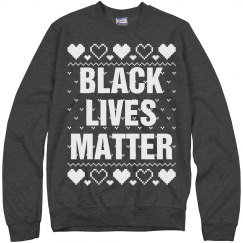 Hearts Black Lives Matter Ugly Sweater - White Detail