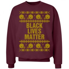 Football Black Lives Matter Ugly Sweater - Gold Detail