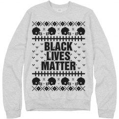 Football Black Lives Matter Ugly Sweater - Black Detail