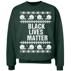 Football Black Lives Matter Ugly Sweater - White Detail
