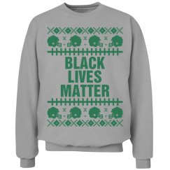 Football Black Lives Matter Ugly Sweater - Green Detail