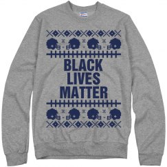 Football Black Lives Matter Ugly Sweater - Navy Detail