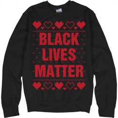 Hearts Black Lives Matter Ugly Sweater - Red Detail