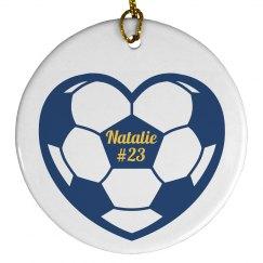 Custom Name Number Soccer Christmas Ornament