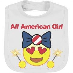 All American Girl Emoji Baby Bib