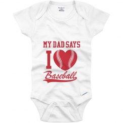 I Heart Baseball Onesie
