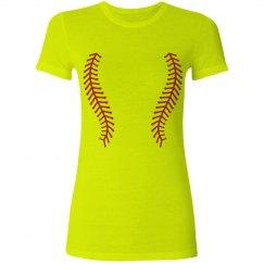 Neon Softball Laces Tee